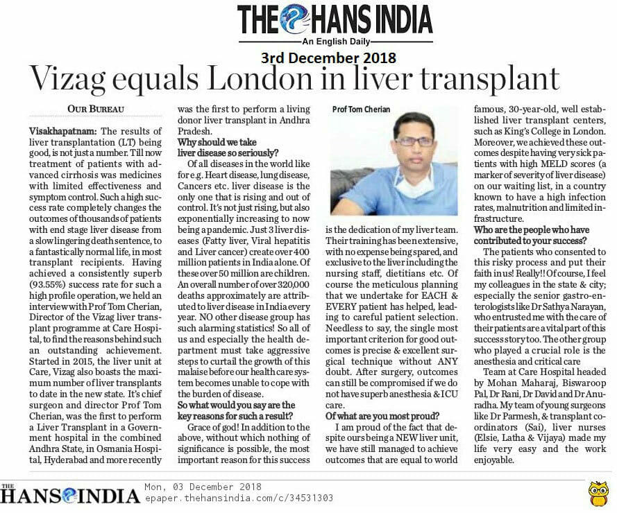 Vizag Equals London In Liver Transplant (The Hans India)